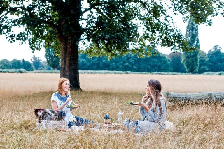 Faulheit überwinden beschrieben durch zwei Frauen beim Picknick