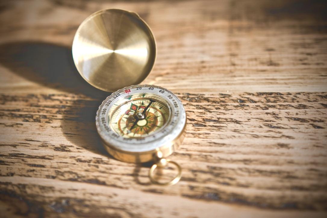 Mut zur Veränderung beschrieben durch einen Kompass